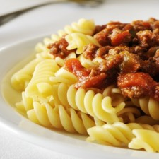 Bolognese and basil fusilli